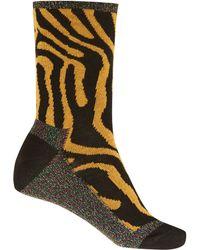 Alto Milano - Mustard Tiger Print Cottonblend Socks - Lyst