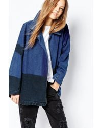 WÅVEN - Denim Oversized Patchwork Overcoat - Lyst