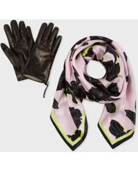 Paul Smith Floral Silk Scarf And Leather Glove Set - Lyst