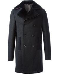 Etro Lamb Fur Collar Coat - Lyst