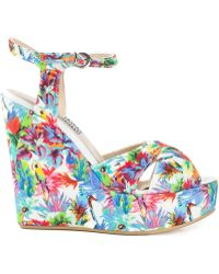Love Moschino Tropical Print Wedge Sandals - Lyst