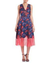 Sachin & Babi Noir Aki Floral Applique Mesh Dress floral - Lyst