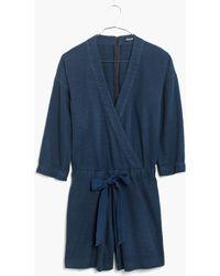 Madewell Blue Kimono Romper - Lyst