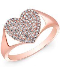 Anne Sisteron 14Kt Rose Gold Diamond Rachel Heart Ring - Lyst