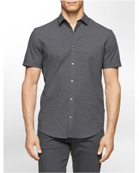 Calvin Klein | White Label Classic Fit Pieced Collar Zig Zag Print Short Sleeve Shirt | Lyst