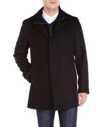 Cole Haan Black Knit Bib Wool Blend Coat - Lyst