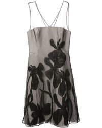 Halston Heritage Floral Embroidered Aline Dress - Lyst