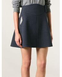 Carven Embroidered Pocket A-line Skirt - Lyst