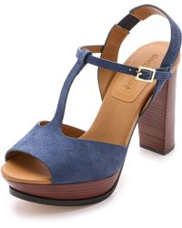See By Chloé Platform Suede Sandals - Oceano - Lyst