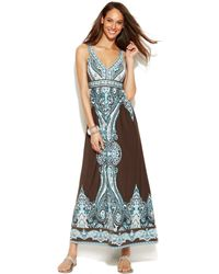 Inc International Concepts Printed Empirewaist Maxi Dress - Lyst