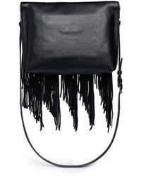 Elizabeth and James 'Andrew' Fringe Leather Foldover Clutch black - Lyst