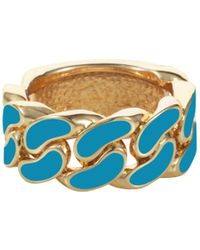 House Of Holland Turquoise Blue Id Plate Ring - Lyst