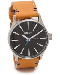 Nixon Sentry Leather Watch  Naturalblack - Lyst