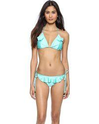 Shoshanna Spearmint Ruffle Triangle Bikini Top - Spearmint - Lyst