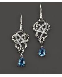 John Hardy Batu Classic Chain Sterling Silver Drop Braided Earrings with London Blue Topaz and Diamonds - Lyst