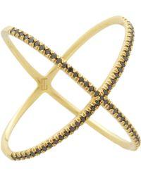 Eva Fehren - X Ring in 18k Yellow Gold with Pale Champagne Diamond - Lyst