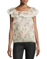 RED Valentino Floral-Print Ruffle-Neck Blouse - Lyst