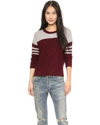 Madewell Owen Pullover Marled Cabernet Colorblock - Lyst