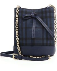 Burberry | Mini Horseferry Check & Leather Bucket Bag | Lyst
