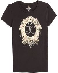 Juicy Couture Floral Embellished Cotton T-Shirt - Lyst