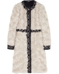 Matthew Williamson - Embellished Wool-Paneled Mohair Coat - Lyst