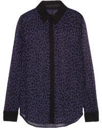 Karl Lagerfeld Volmar Animal-print Georgette Shirt - Lyst