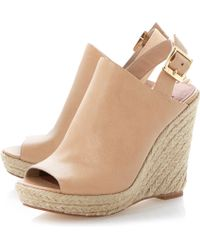 Steve Madden Corizon High Vamp Peeptoe Wedge Sandals - Lyst
