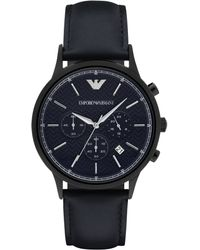 Emporio Armani | Polished Round Stainless Steel Watch | Lyst