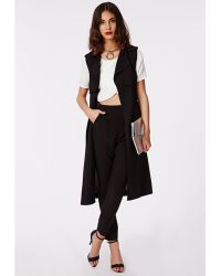 Missguided Tarissa Tailored Crepe Trousers Black - Lyst