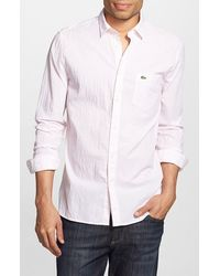 Lacoste Regular Fit Stripe Seersucker Woven Shirt pink - Lyst