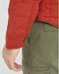 Wrangler   Red Waxed 2-pockets Quilted Overcoat   Lyst