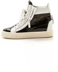 Giuseppe Zanotti Patent Leather Sneakers - Bianconero - Lyst