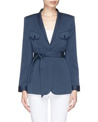 Armani Double Pocket Belted Stretch Crepe Jacket - Lyst