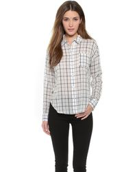 Elizabeth And James Carine Shirt - White/Navy - Lyst