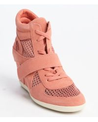 Ash Peach Suede And Mesh Canvas Wedge Heel High Top Sneakers - Lyst