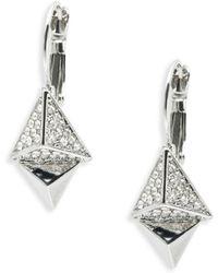 ABS By Allen Schwartz - Pyramid Drop Earrings - Silvertone - Lyst