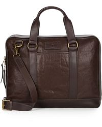 John Varvatos Milano Leather Briefcase brown - Lyst