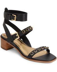 Isaac Mizrahi Stone Studded Leather Sandals - Lyst