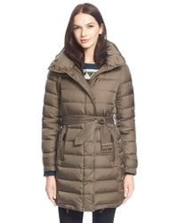 Burberry Brit - 'winterleigh' Belted Down Coat - Lyst