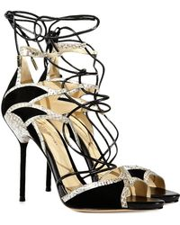 Alexandre Birman Therese Suede and Water Snake Sandal - Lyst
