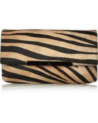 Christian Louboutin Rougissime Tiger-Print Calf Hair Clutch - Lyst