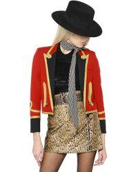 Saint Laurent Embellished Wool Spencer Jacket - Lyst