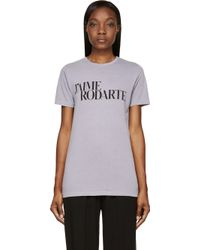 Rodarte Grey Love Hate T_shirt - Lyst