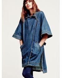 Free People Kimono Sleeve Denim Jacket - Lyst