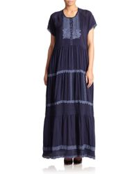 Johnny Was Embroidered Tiered Maxi Dress black - Lyst