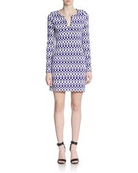 Diane von Furstenberg Reina Printed Long-Sleeve Dress - Lyst