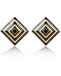 River Island Black and Gold Square Stud Earrings - Lyst