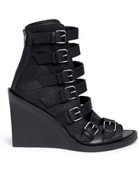 Ann Demeulemeester | Buckle Leather Wedge Sandal Boots | Lyst