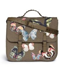 Valentino 'Camubutterfly' Embroidery Canvas Leather Messenger Backpack green - Lyst
