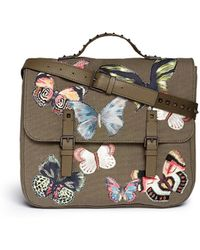 Valentino 'Camubutterfly' Embroidery Canvas Leather Messenger Backpack - Lyst